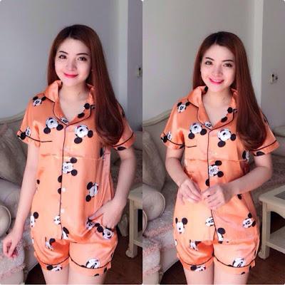 Set đồ bộ pizama phi lụa nữ