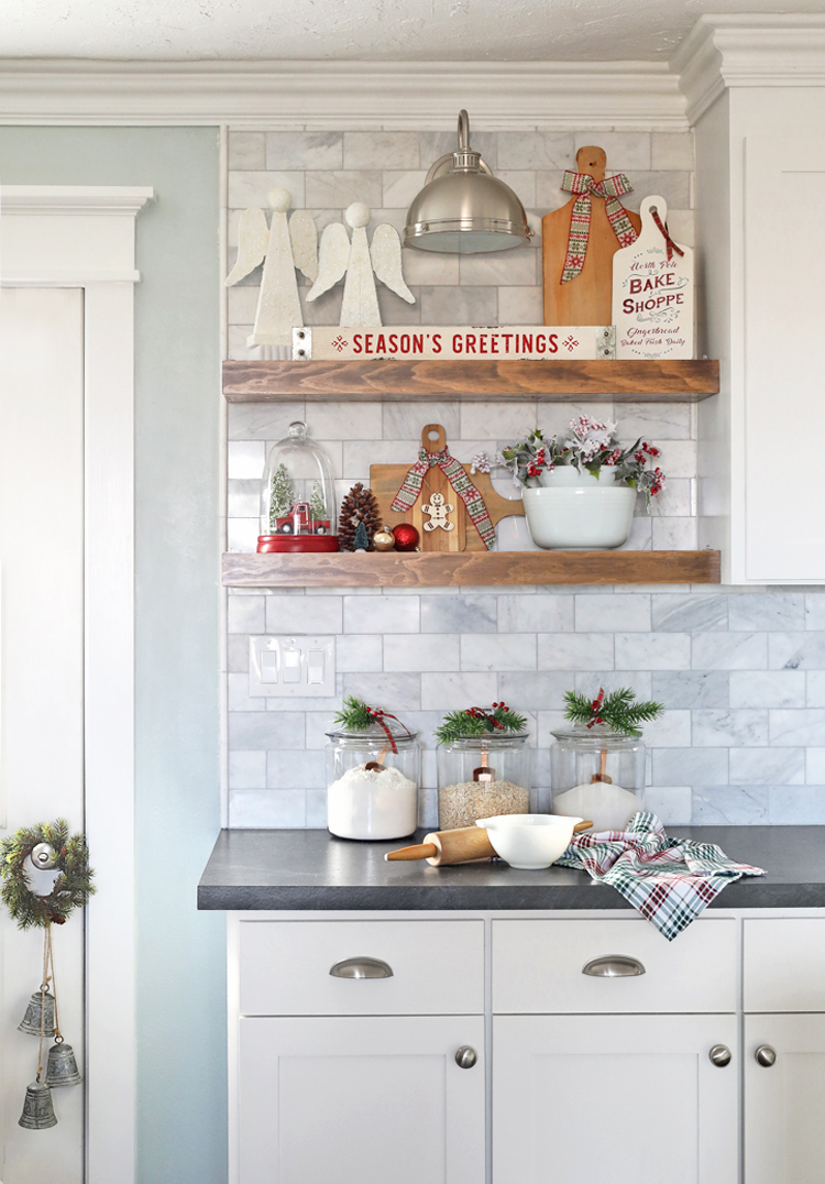 How to decorate open kitchen shelves for Christmas