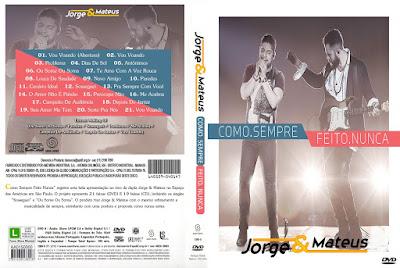 DVD Jorge e Mateus - Como Sempre Feito Nunca DVD Capa