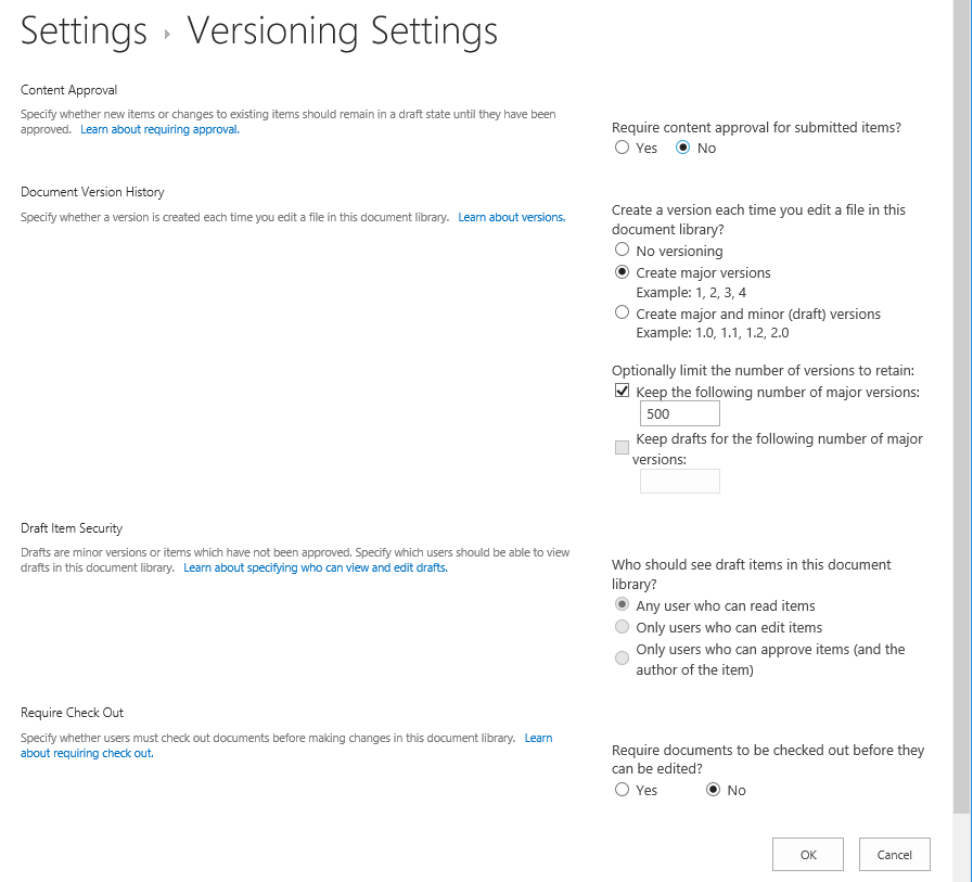 powershell to get versioning settings in sharepoint online