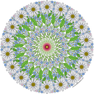 Daisy mandala with blank version to color #coloringpages #mandalas
