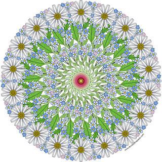 Daisy mandala with blank version to color #coloringpages #mandalas