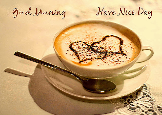 Good Morning Have a Nice Day Two Heart Tea Cup on The Tray With Spoon HD Wallpaper Free Download