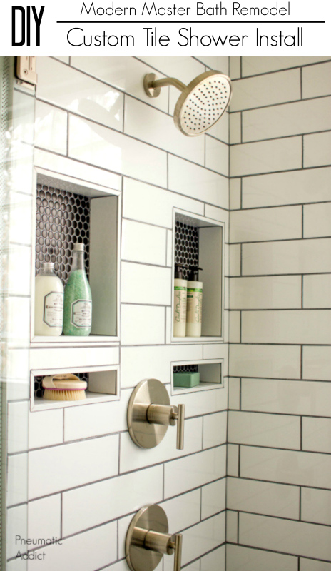 Learn how to overcome the daunting task of building waterproofing and installing a custom tile shower yourself DIY shower remodel