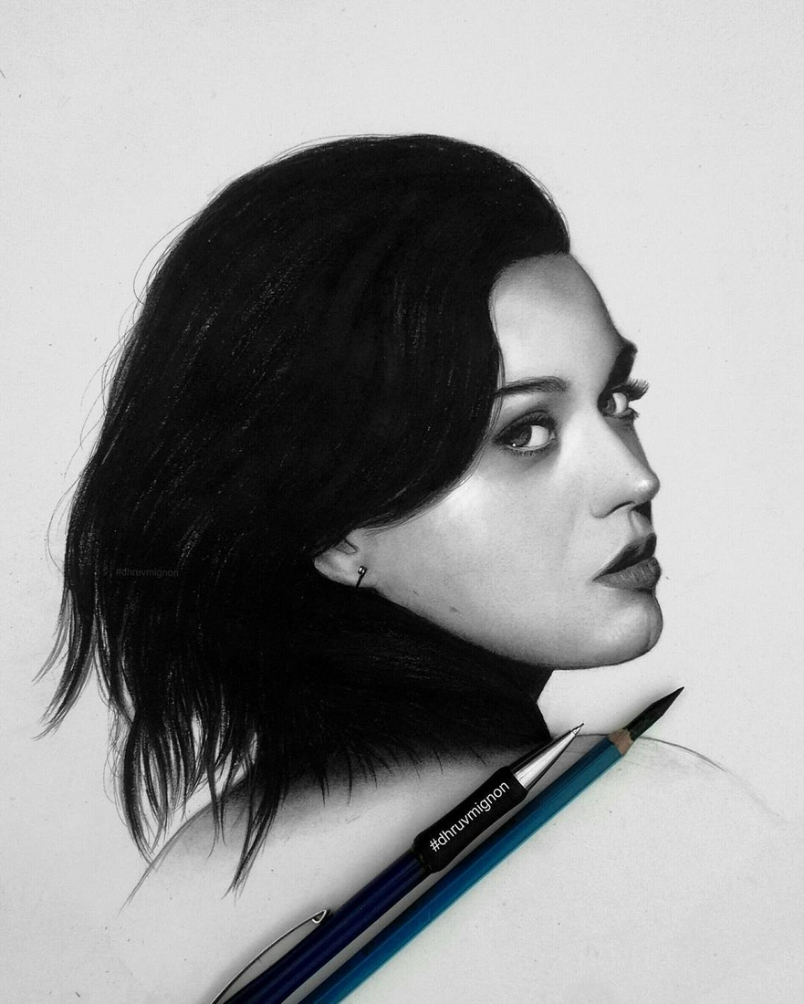 09-Katy-Perry-dhruvmignon-Celebrity-Miniature-Black-and-White-Pencil-Portraits-www-designstack-co