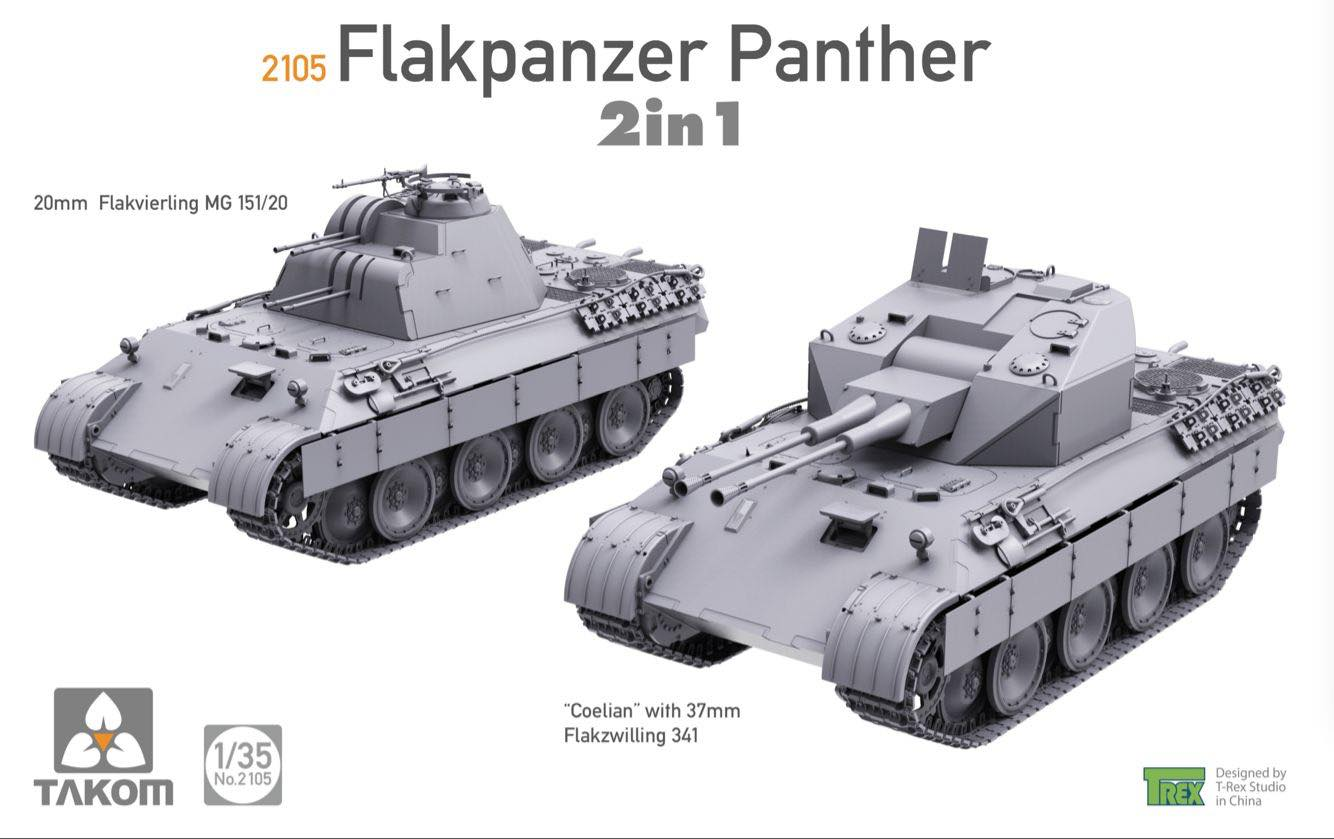 Takom 1:35 02105 Flakpanzer Panther 2 in 1 Model Military Kit