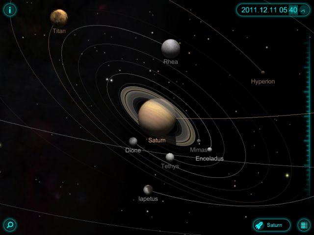 太陽系が表示される。星をクリックするとその星が拡大される。右上の時間で... Solar Wal