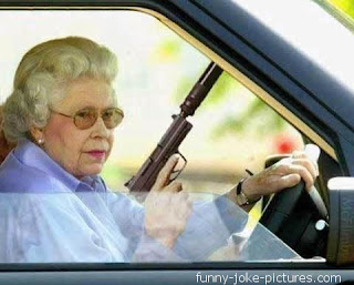Funny Queen Elizabeth Gun NRA National Rifle Association picture