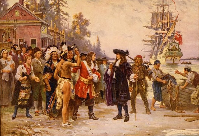 William Penn, in 1682, standing on shore greeted by large group