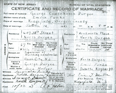 Family History Research by Jody Lutter: DURYEA New Jersey Marriages