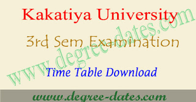 KU degree 3rd sem time table 2017, 2nd year exam dates