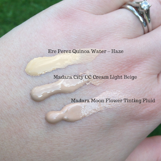 Ere Perez Quinoa Water Foundation, Madara Hyaluronic Anti-Pollution CC Cream SPF15