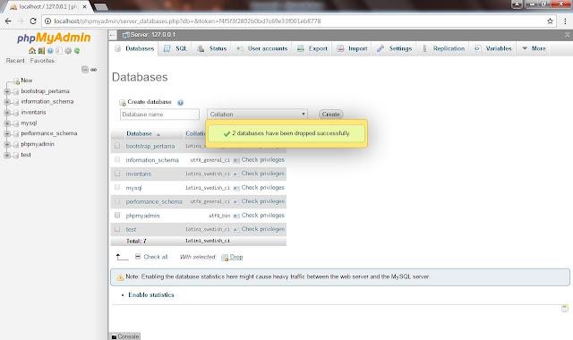 Cara Menghapus Nama Database Dan Tabel Pada phpMyAdmin