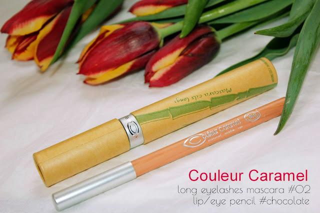 Отзыв: Макияж с органической косметикой Couleur Caramel –тушь для ресниц (#сливовый) и карандаш для глаз (#шоколад).