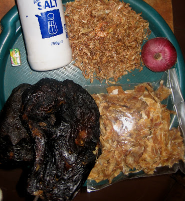 Ingredients for Nigerian banga afang soup