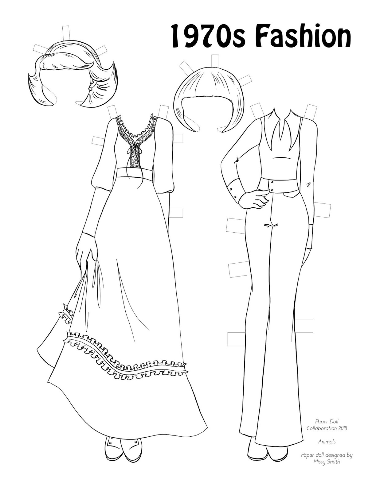 paper doll school august 2018 Me Decade 1970s i went in two directions here first up is a gunne sax inspired dress with feathered flipped up hair next a long collared shirt and wide leg pants with a