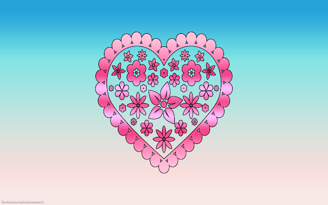 Blauwe achtergrond met roze liefdes hartje van bloemen