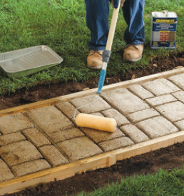 Fig.7: Finishing the Stamped Concrete with a Concrete Sealer