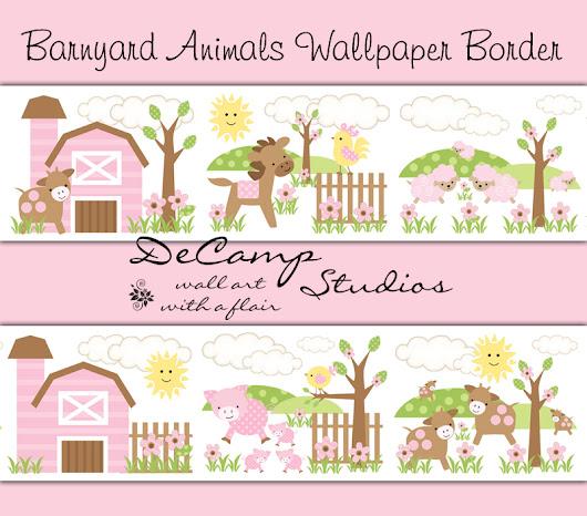 Ideal Barnyard Farm Animals Wallpaper Border Wall Decals Baby Girl Nursery Decor