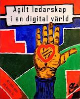 Bokomslag till Agilt ledarskap i en digital värld där den öppna handen symboliserar agilitet och de hårda linjerna som omger symboliserar den digitala tekniken