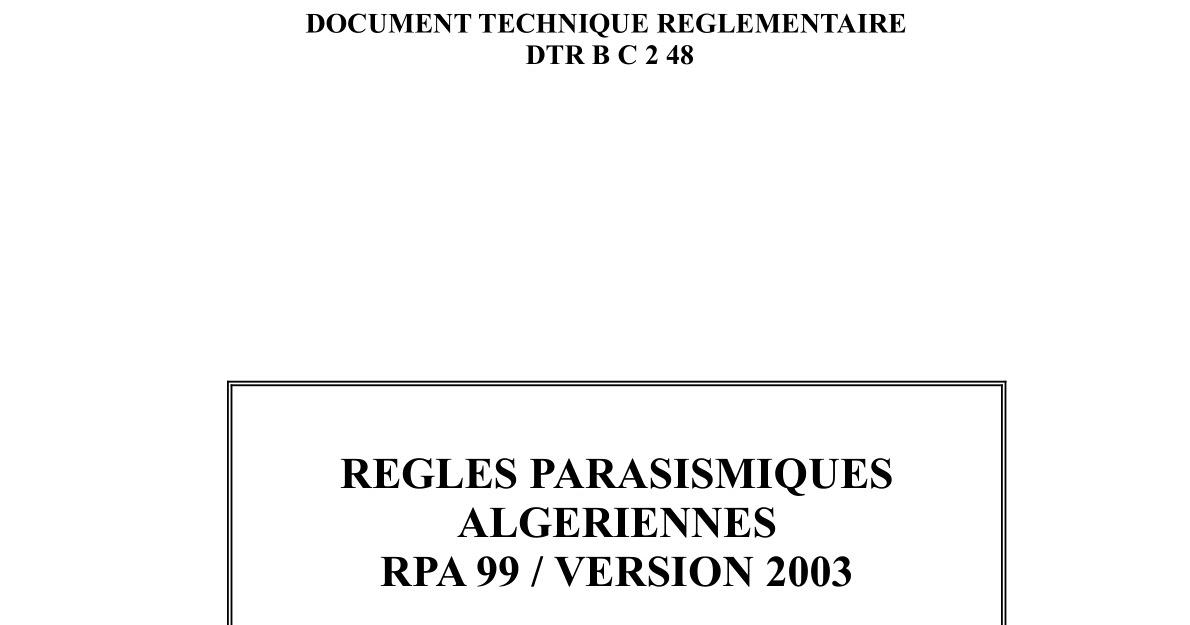 99 REGLEMENT 2003 TÉLÉCHARGER LE ALGERIEN PARASISMIQUE VERSION