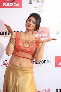 Harshika Ponnacha in orange blouuse brown skirt at Mirchi Music Awards South 2017 ~  Exclusive Celebrities Galleries 051.JPG