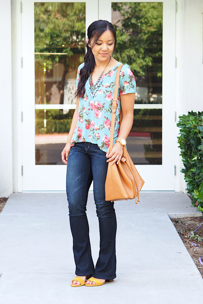 turquoise floral print shirt + bootcut jeans + statement necklace + yellow heels