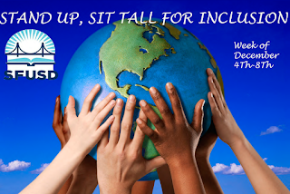 """Stand up, sit tall for inclusion, week of Dec. 4-8"" overlaid on image of hands belonging to people of multiple ages and races holding up a globe."