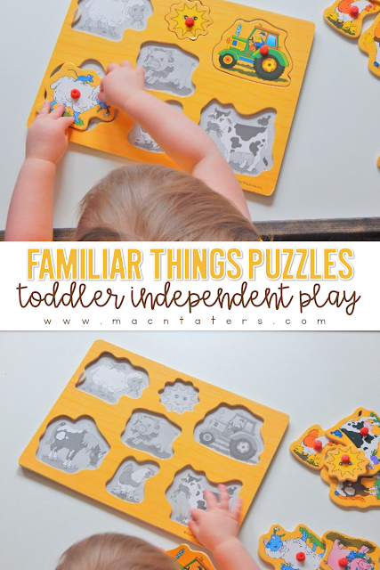 Puzzles are fantastic simple independent play activities for toddlers, preschoolers and school aged children. The pegs on the puzzles are great for strenghtening those fine motor skills in little learners. Puzzles are a great addition to any tot school curriculum.