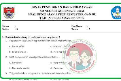 Soal UAS / PAS Kelas 3 Tema 3 Kurikulum 2013 Revisi 2018