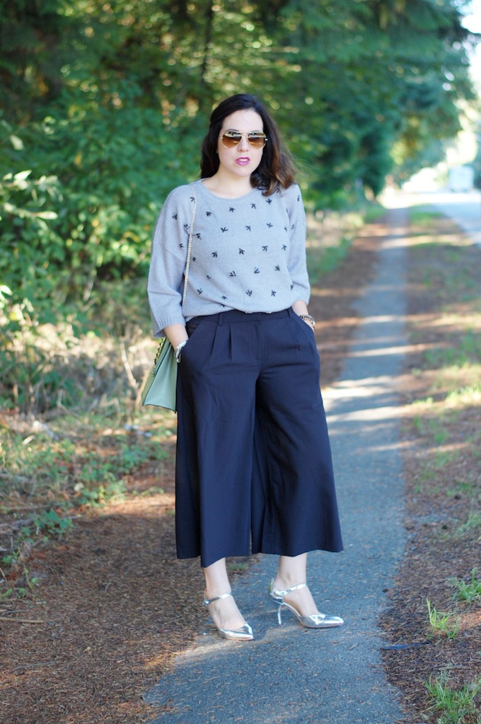 Tibi culottes and an Ann Taylor embellished sweater Vancouver fashion blogger