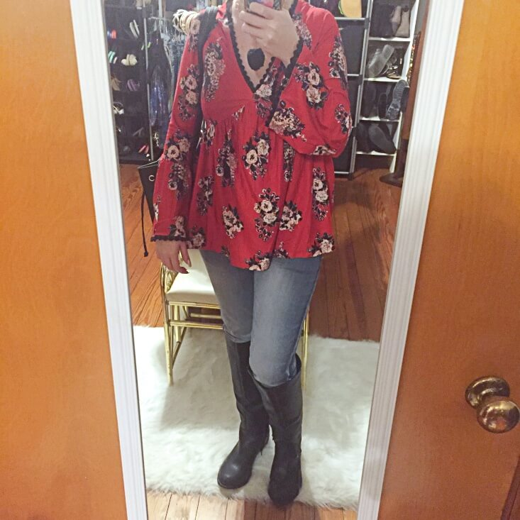 floral bell sleeve top outfit of the day