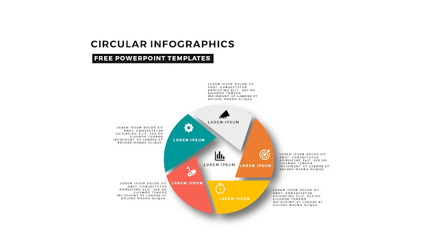 Circular Infographics Free PowerPoint Template with icons and 5 steps