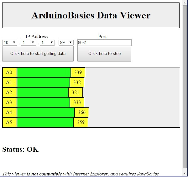 ArduinoBasics Web Data Viewer Web Page Example