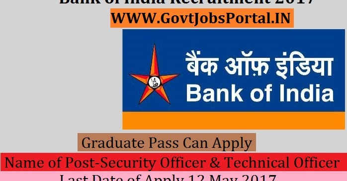 Bank Of India Recruitment 2017 Security Officer