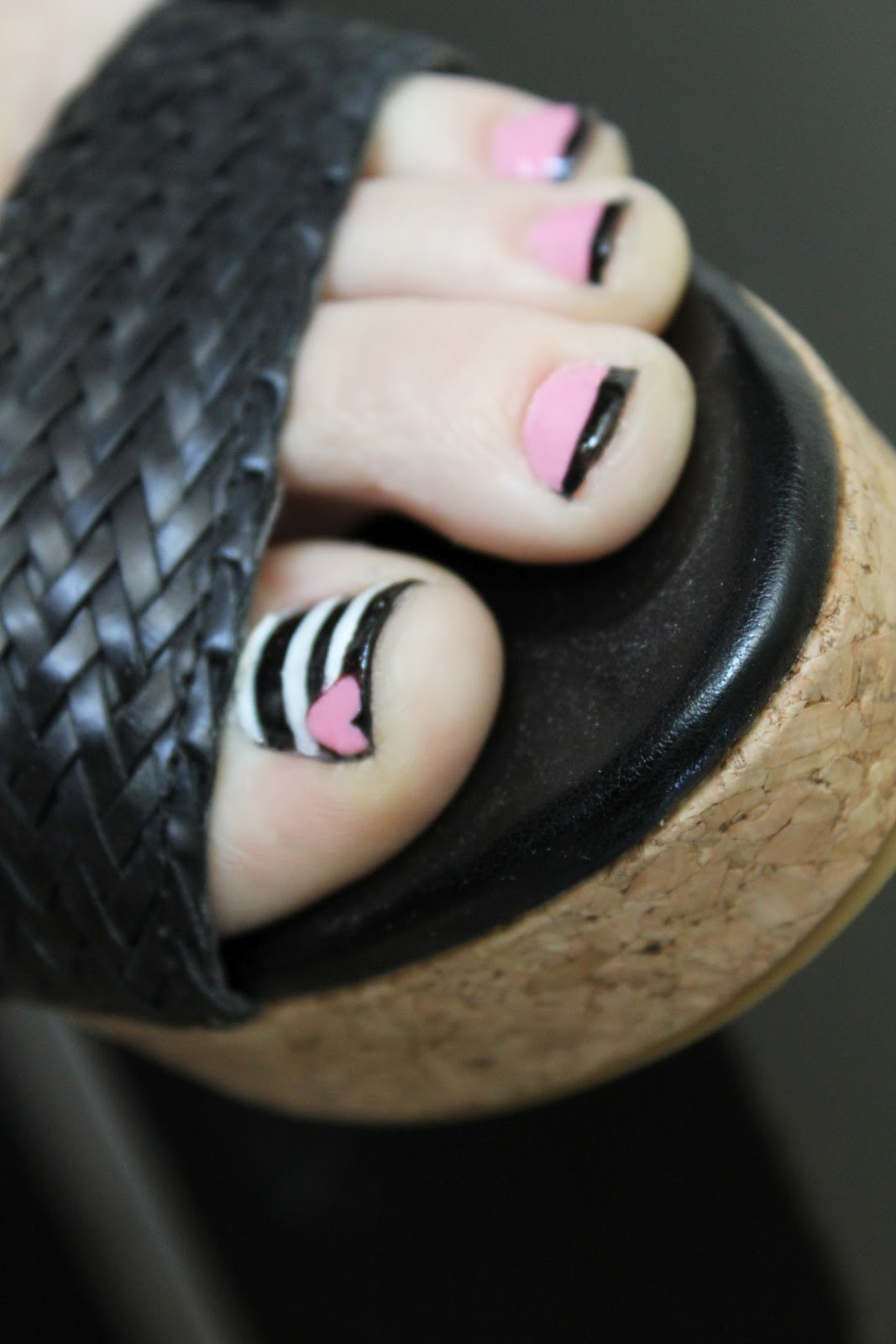 Fit, Crafty, Stylish And Happy: Pink Black And Striped Nails