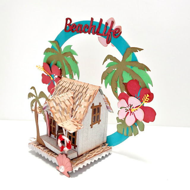 Summer Loving Beach Life Beach House Left Side by Dana Tatar for FabScraps