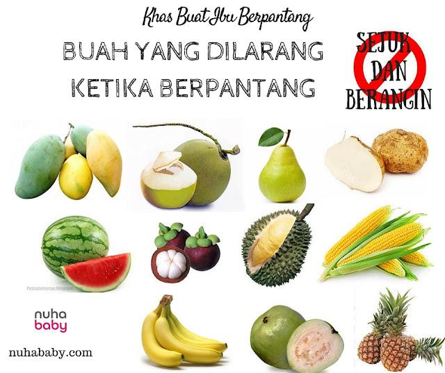 makanan yang di larang ketika berpantang Elakkan semua makanan sejuk dan berangin  seperti timun, labu , kangkung, kelapa, sengkuang , jagung, tembikai , pisang dan seumpamanya.