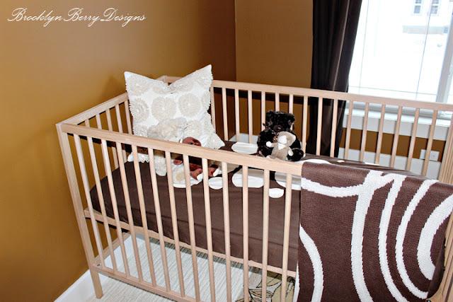Ikea crib in a modern nursery