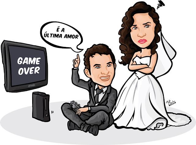 Caricatura de Casamento com Video Game