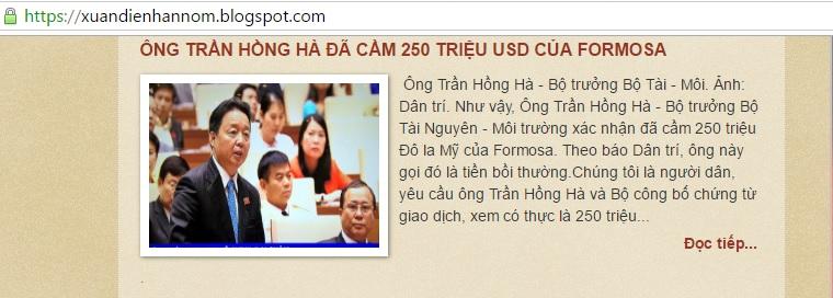 ÔNG TRẦN HỒNG HÀ ĐÃ CẦM 250 TRIỆU USD CỦA FORMOSA?