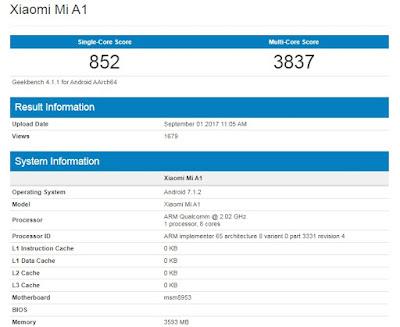 Geekbench Xiaomi Mi A1