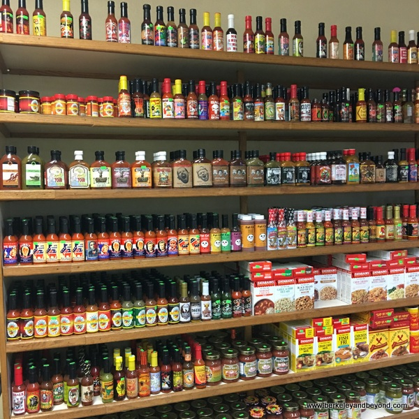 wall of hot sauces at Pedrick Produce in Dixon, California