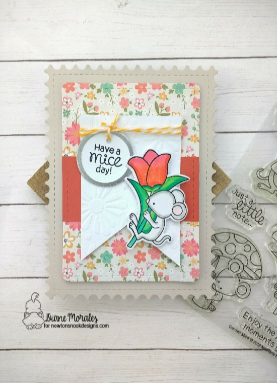 Have a mice day by Diane features Garden Mice, Bold Blooms, Framework, and Frames & Flags by Newton's Nook Designs; #newtonsnook
