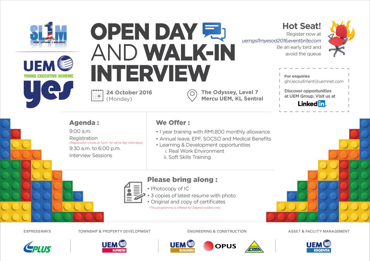 Open Day and Walk-in Interview at UEM October 2016