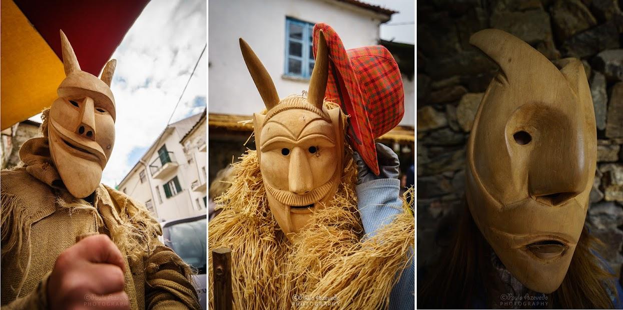 Máscaras de madeira dos caretos de Lazarim