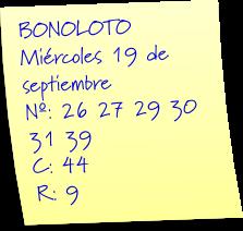 comprobar combinacion ganadora bonoloto miercoles 19 septiembre