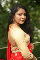 Akshara in Red Saree Golden Choli at LV Movie Makers Production No 1 Movie Opening ~  Exclusive 111.JPG