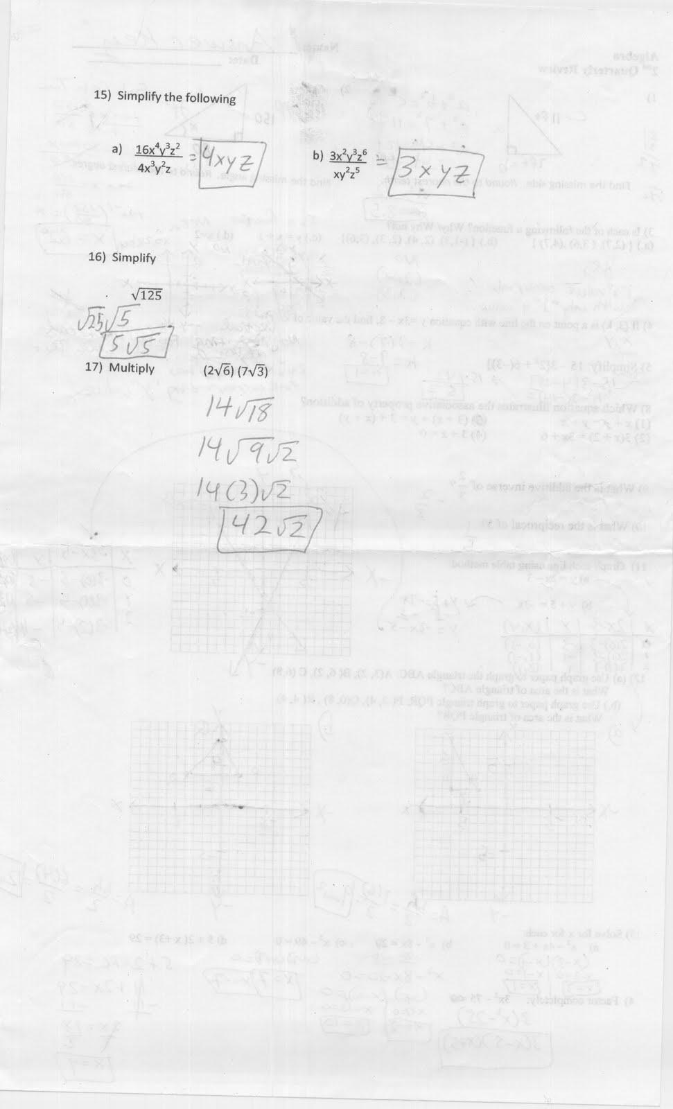 Mr. Napoli's Algebra: April 2013