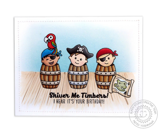 Sunny Studio Stamps Pirate Pals Birthday Card by Mendi Yoshikawa